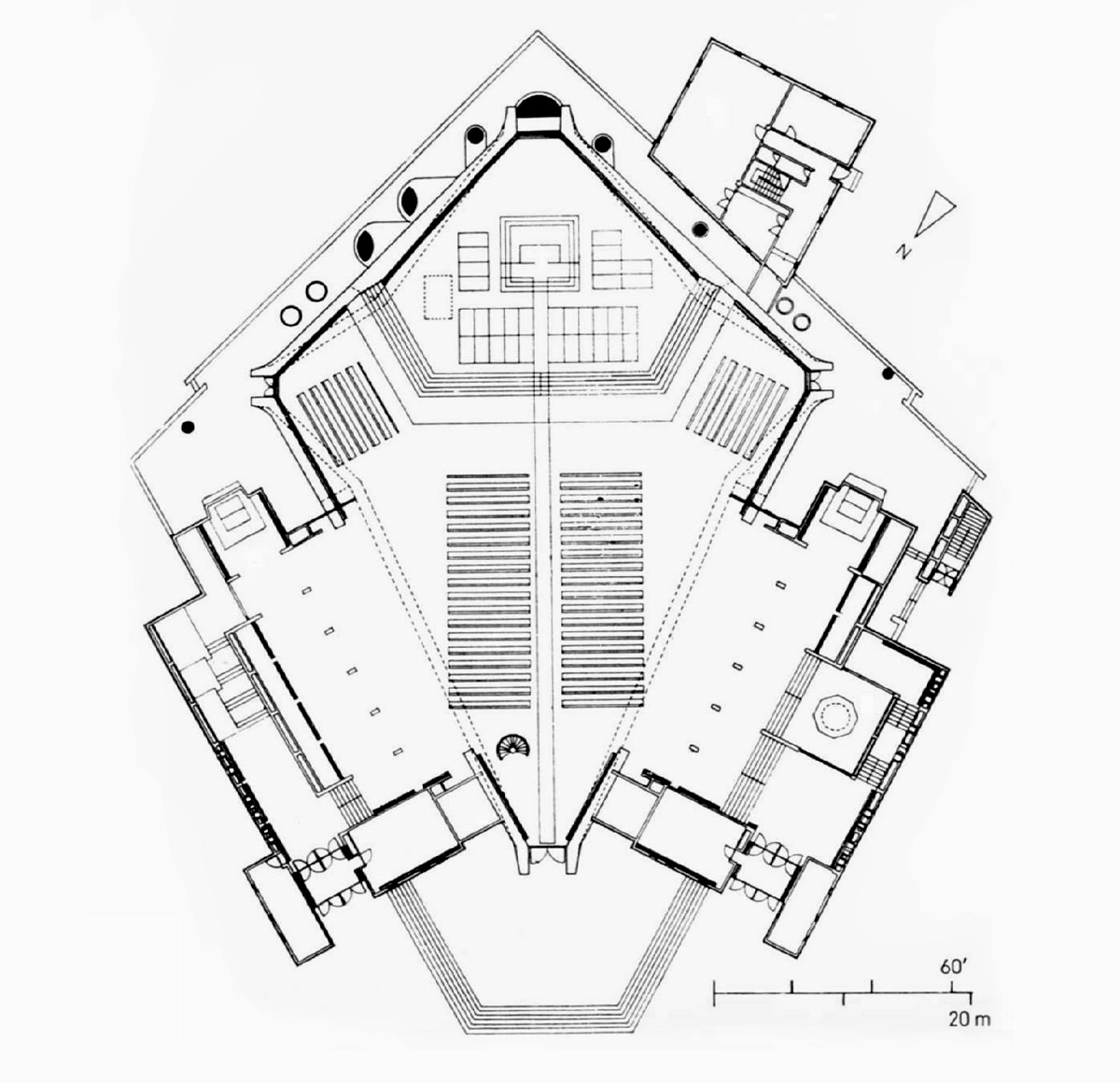 Floor Plan of saint Mary's Cathedral in Tokyo by Kenzo Tange