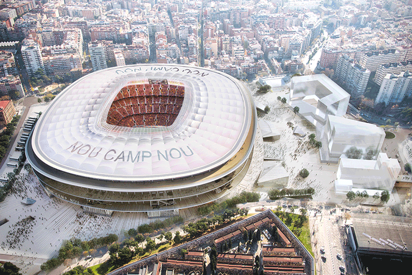New Camp Nou Stadium Aerial View