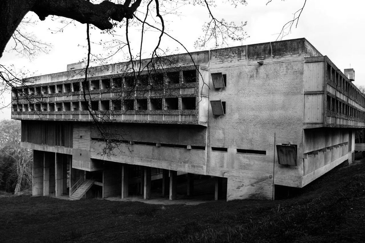 Facade of Sainte Marie de La Tourette by Le Corbusier
