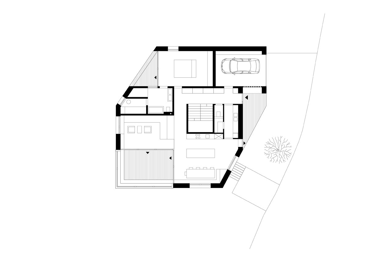 House on the mountain sulzberg juri troy architects for Mountain architecture floor plans