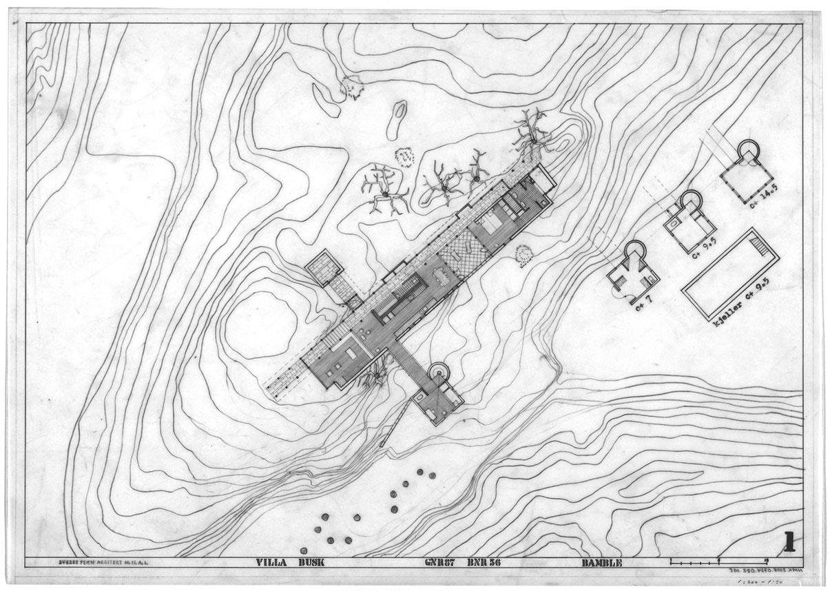 Site plan Villa Busk by Sverre Fehn