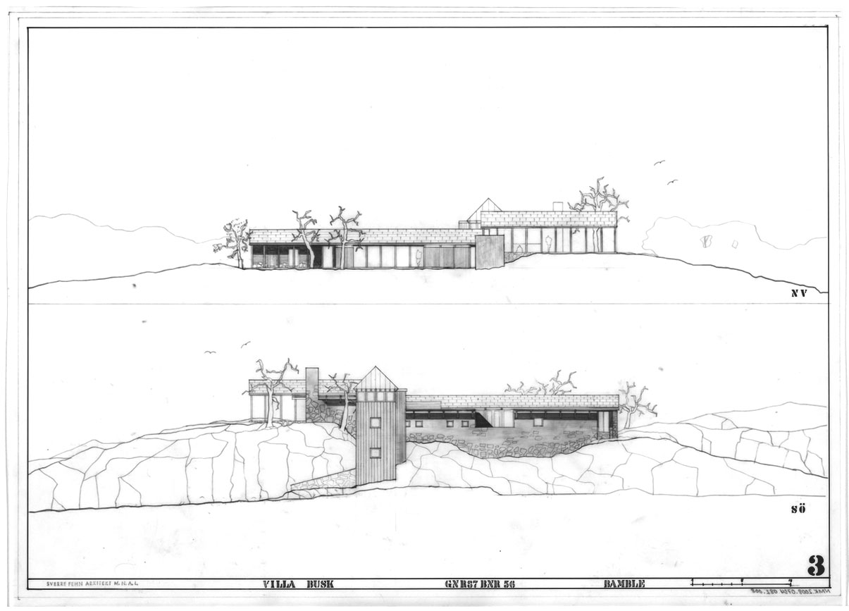 Elevations of Villa Busk by Sverre Fehn