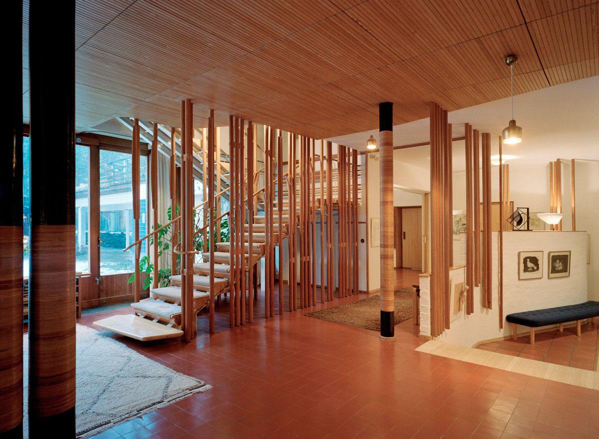 Wood columns inside Villa Mairea by Alvar Aalto