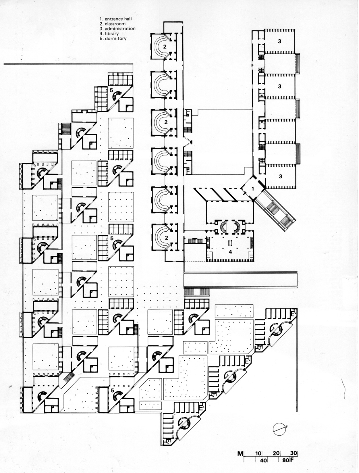 Floor Plan Indian Institute of Management by Louis Kahn