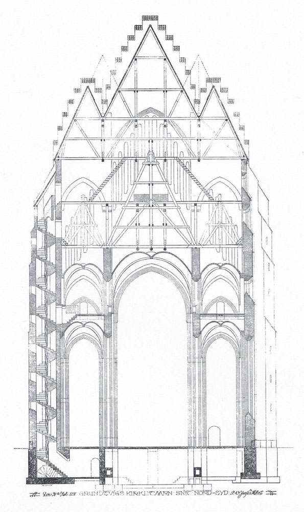 Grundtvig's Church plans Peder Vilhelm Jensen-Klint