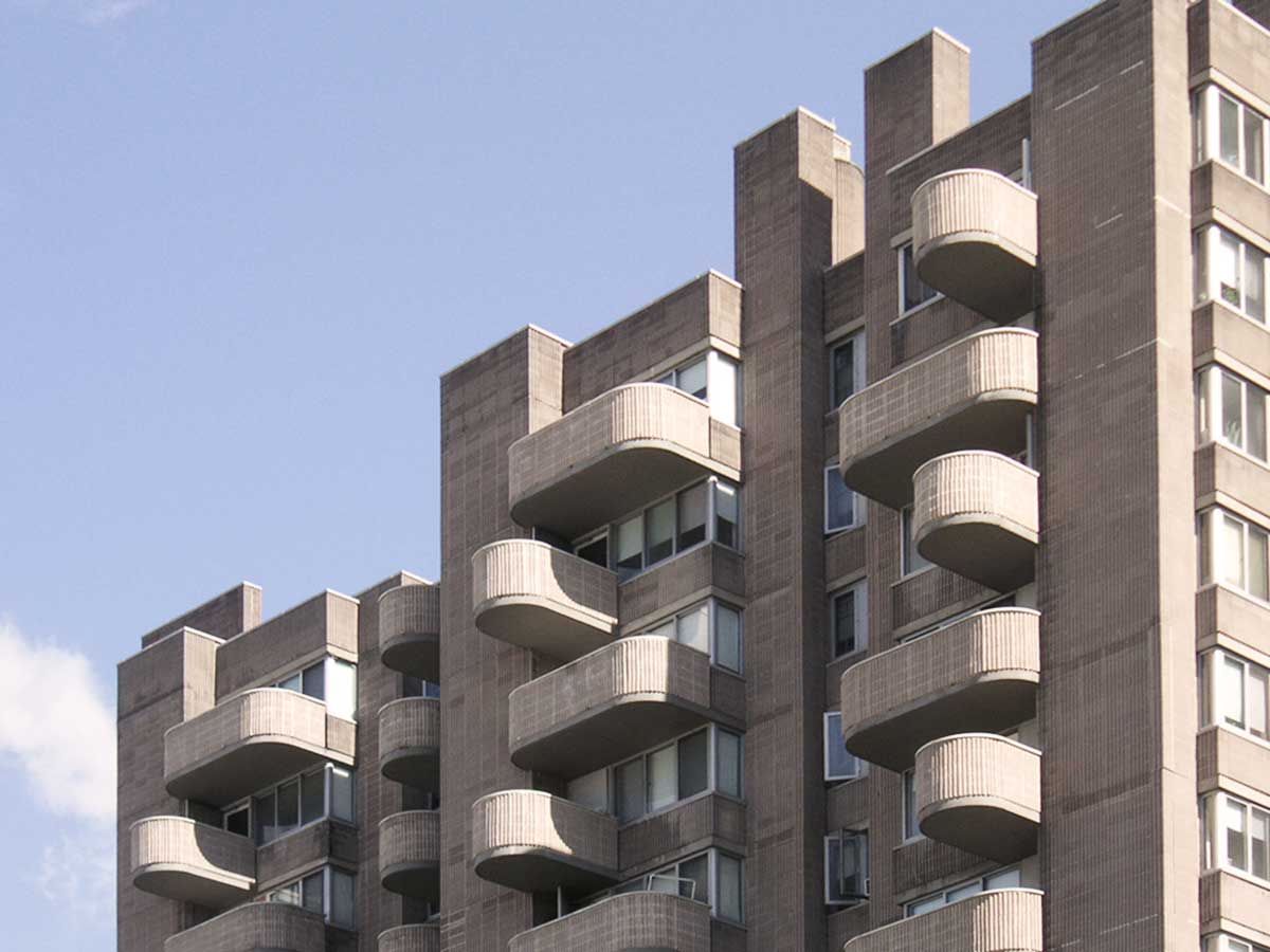 Crawford Manor Housing rounded balconies by Paul Rudolph