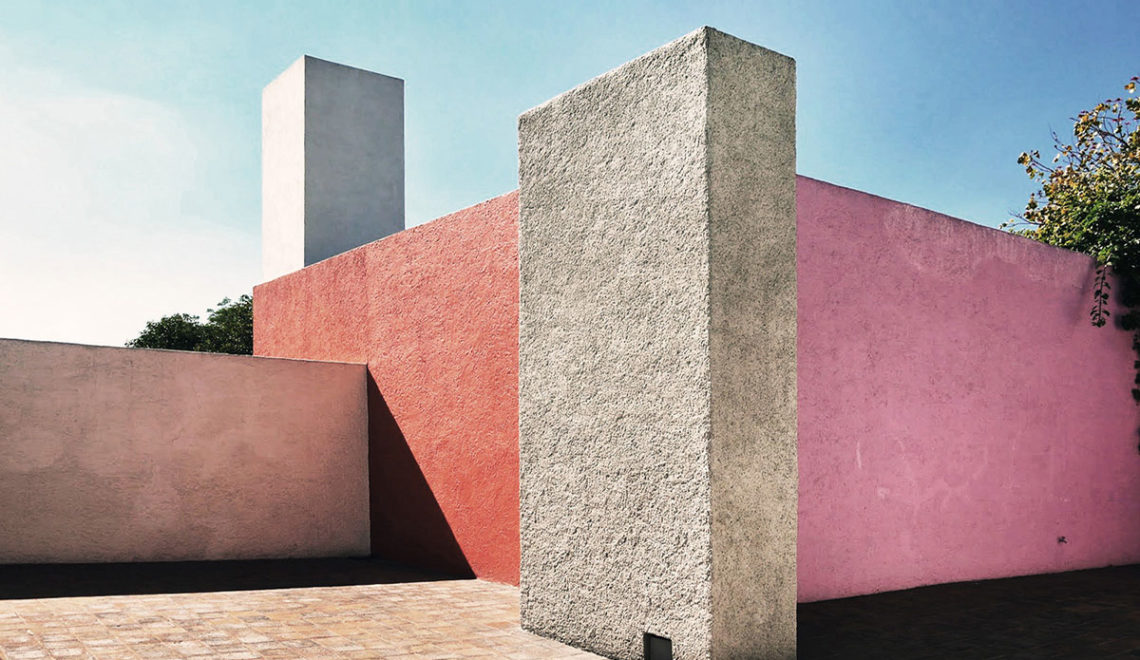 Luis Barragan House Patio. Exterior color walls
