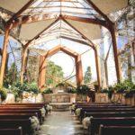 Interior of Wayfarers chapel by Lloyd Wright